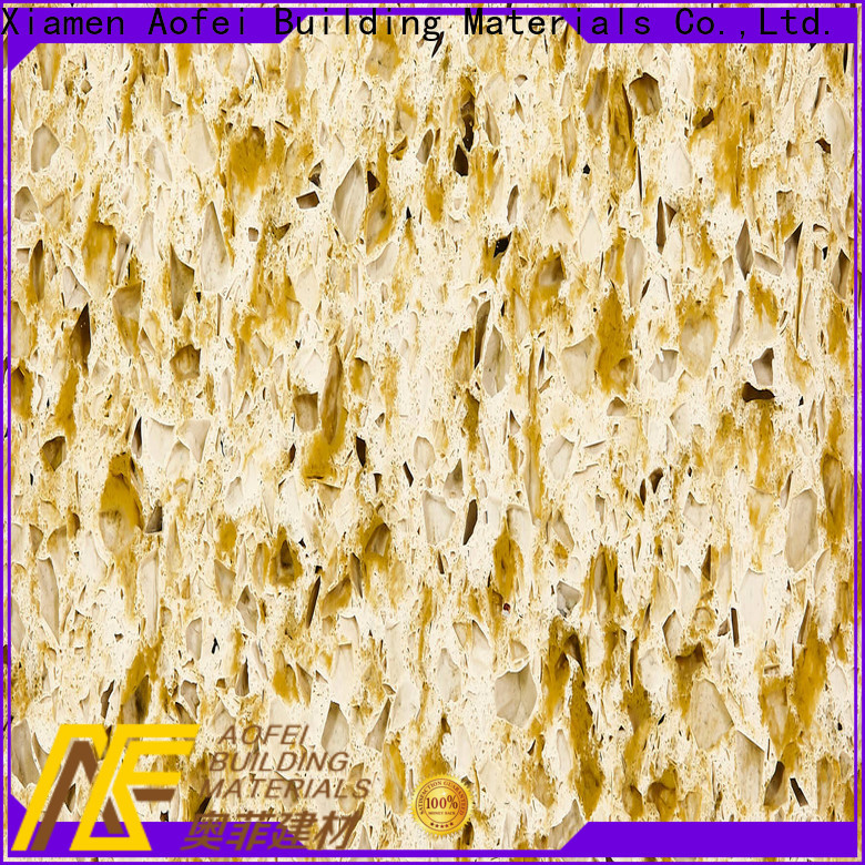 AOFEI High-quality yellow-gold quartz countertop manufacturers for flooring